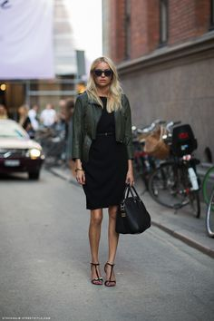 Layer a leather moto jacket over your dress!
