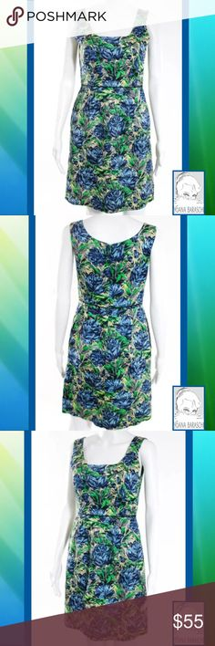"""BARASCHI Pretty Green/Blue Floral Painterly Dress SIZE 4. 34"""" Length. 27"""" Waist. 33"""" Bust. Green, Blue Watercolor Floral Print. Zipper & Eye Closure. 100% Cotton. 2 Side Pockets. EUC Perfect Condition. WORN ONCE Anthropologie Dresses Midi"""
