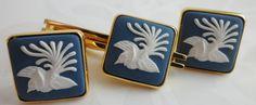 Cuff Links Tie Pin Vintage Stylised Bird by BelieveToBeBeautiful