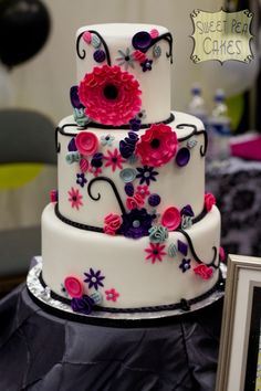 Pink Fantasy Flowers Wedding Cake