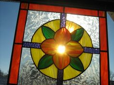 Stained Glass Panel Window Adornment by stanfordglassshop on Etsy, $90.00