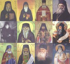 Saint Nektarios of Pentapolis, Saint Chrysostom Smyrna saint Arsenios of Cappadocia, Blessed Nicholas Plana, saint Silouan Athonite, St Nicholas of Ohrid (Velimirovic), Blessed George Karslidi, Blessed Anthimos in Chio, Blessed Luke the physician (bishop Symferoupoleos and Crimea), Blessed Justin Popovich, holy Philoumenos new martyr and saint Porphyry Kafsokalyvitis. Greek Icons, Church Interior, Byzantine Icons, Russian Orthodox, Orthodox Christianity, Saint Nicholas, Religious Icons, Orthodox Icons, Jesus Christ