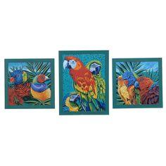Crestview Birds In Paradise 1,2,3 (Set) Domestic Wall Art CVA3523