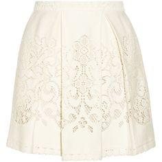 SEA Pleated crocheted lace mini skirt (105 CAD) ❤ liked on Polyvore featuring skirts, mini skirts, bottoms, saias, faldas, cream, sea, new york, cream pleated skirt, crochet lace mini skirt and cream mini skirt