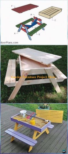 DIY Sandbox Picnic Table Free Plan & Instructions - DIY Outdoor Table Ideas & Projects Free Plans DIY Outdoor Table Ideas & Projects Free Plans: Outdoor Patio Table, Space Saving Coffee Table with Under Table, Sand Table, Table Bench in One and
