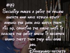 Disneyland Tips 2019 - No wonder everything is so expensive. Those stealing are ruining it for paying c. Disneyland World, Disneyland Secrets, Disney Secrets, Disney Tips, Disney Magic, Disneyland Hacks, Disneyland Vacation, Vintage Disneyland, Cruise Vacation