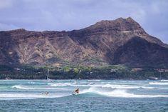 Waikiki Surfer and Diamondhead By Jacob W. Frank Photography