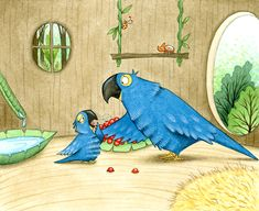 A parrot illustration by Emma Allen from the book 'Paula Helps Prevent Air Pollution', written by Claire Culliford. Illustrations, Children's Book Illustration, Emma Allen, Page Design, Parrot, Childrens Books, Air Pollution, Bird, Claire