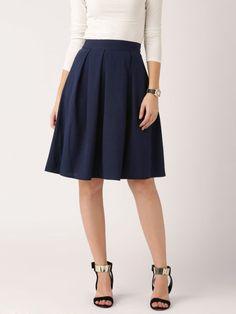DressBerry Navy Pleated Flared Skirt