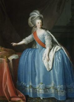 Portrait of Queen Dona Maria I of Portugal & Brazil with a Crown, Giuseppe Troni, 1783. Maria I (1734-1816) Queen of Portugal, Brazil, and the Algarves. Maria the Pious (in Portugal), or Maria the Mad (in Brazil), 1st undisputed Queen regnant of Portugal. Perhaps had porphyria. Court moved to Brazil under regency of her son Joao during Napoleonic era.