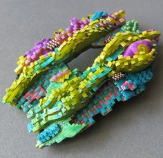 Made during the Encrusted workshop with my beloved Jana Roberts Benzon Polymer Clay Beads, Art Pieces, Creative, Workshop, Polymers, Brooches, Students, Ideas, Atelier