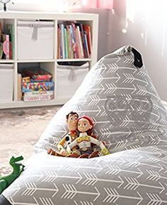 MiniOwls TOY STORAGE BEAN BAG - Cover - fits 100L/26 gal - Stuffed Animal Organizer in Gray - Large, Soft & Comfy Cover that Creates Cozy Lounger Bed - 3% donation to Autism Foundation ...: Amazon.co.uk: Kitchen & Home