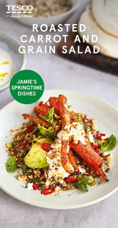 Delicious as a main or a side, this warm roasted carrot and grain salad is bursting with flavour. See more Jamie Oliver recipes at Tesco Real Food. Carrot Recipes, Healthy Recipes, Healthy Meals, Yummy Recipes, Healthy Cooking, Healthy Eating, Cooking Recipes, Warm Salad, Tesco Real Food