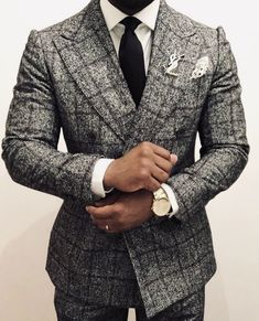 Custom made tailored suits have never been more in demand! Have your own men's custom grey double breasted windowpane suit designed and made from Giorgenti New York! Make your appointment today! Gentleman Mode, Gentleman Style, Mens Fashion Suits, Mens Suits, Grey Suit Wedding, Herren Outfit, Classy Men, Suit And Tie, Well Dressed Men