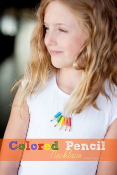 DIY Colored Pencil Necklace craft perfect for back to school