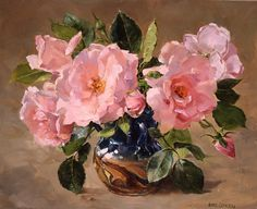 New Dawn Roses by English Painter Anne Cotterill 1930 - 2010 http://ilclandimariapia.blogspot.co.nz/2013/06/anne-cotterill.html
