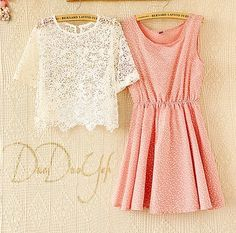 girl crochet and dress 2 pcs set Mori Girl, Korean Fashion, Crochet Summer, Floral, Instagram Posts, Pink, Color, Kawaii, Tops