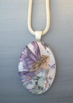 Oval Fused Glass Pendant Fairyland Goddess Fused Glass by GlassCat, $37.00