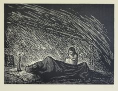 Soledad (Solitude); plate 5 from Rio Escondido, linoleum engravings by Leopoldo Mendez