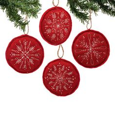 Another great find on #zulily! Stitched Snowflake Ornament Set #zulilyfinds