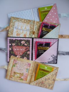 Teabag gift holder card with papers and images from the Gecko Galz Tea Party Favors, Tea Bag Favors, Tea Holder, Tea Gifts, My Cup Of Tea, Craft Sale, Paper Gifts, Folded Cards, Craft Fairs