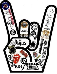 "I love this design! However, I only love/know like 4-5 of the heavy metal/rock bands in this ""rock sign"" but I'm sure they're all amazing!"