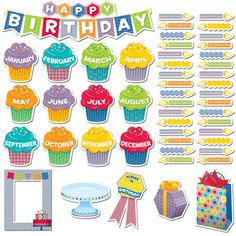 HEXAFUN HAPPY BIRTHDAY MINI BULLETIN BOARD SET, HEXAFUN, HAPPY BIRTHDAY, BIRTHDAY, BULLETIN BOARD SET, BADGES, PHOTO FRAME, PRESENT, CUPCAKES, CANDLES, PARTY, DECORATIONS, DECOR, CLASSROOM, SCHOOL, HOME, OFFICE, FUN