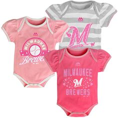 Milwaukee Brewers Newborn Girl's Triple Play 3 Piece Set Pink - MLB.com Shop