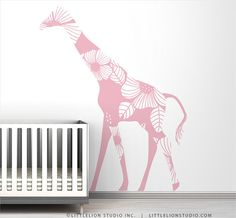 Pink Floral Giraffe Wall Decal by LeoLittleLion on Etsy