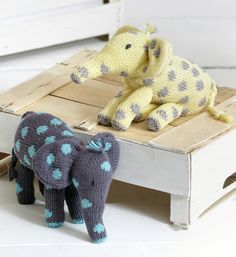 Free Knitting Pattern for Noah's Ark Elephant - Elephant toy softie designed by Sue Jobson for Sirdar. 17cm (6¾in) tall. Great shower gift!