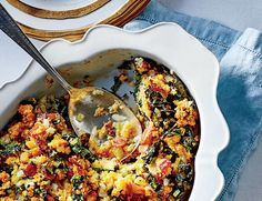 Bacon adds smoky richness, and oven-baked kale makes a crispy topping.