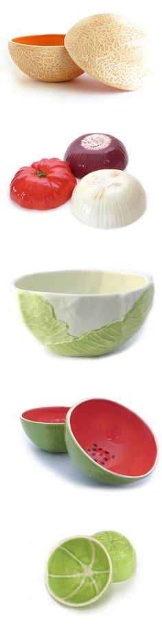 Functional pottery molded from real fruits and vegetables