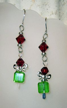 Christmas Earrings The Gift Glass Bead Jewelry by Handmadecrafter, $12.00