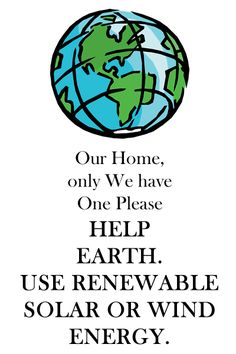 Our Planet Deserves New Renewable Energy As Wind and Solar Energy.