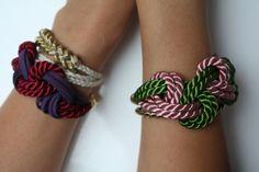 DIY colorful satin cord bracelets