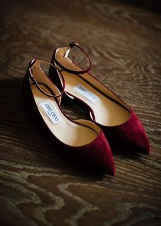 chic maroon suede flats with ankle straps to add a colorful touch to your look#shoes #wedidngshoes #weddings #wedidngideas #weddingshoes