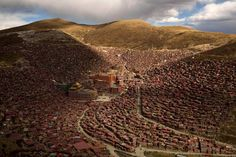 cz.I..Tibetan,China...located in the remote, mountainous area of china's garze tibetan autonomous prefecture, larung gar is the largest buddhist settlement in the world, with 40,000 monks and nuns drawn to its larung wuming buddhist institute for study.