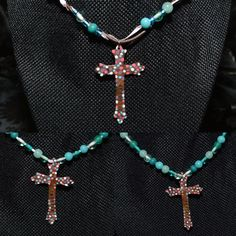 3 seperate Cross necklaces. Eith last names stamped on the back. #handmade #copper #crosses #metal #mywork #handmadebyme #handcarved #paintedbyme #blairboutique_ #necklaces