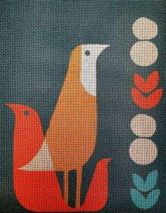 Mid Century Modern Needlepoint - Thrush at Midnight: The design is hand painted onto 13 mesh needlepoint canvas. The design area measures 8