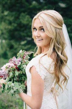 25 Elegant Half Updo Wedding Hairstyles: #4. Bridal Hair Half Up Half Down