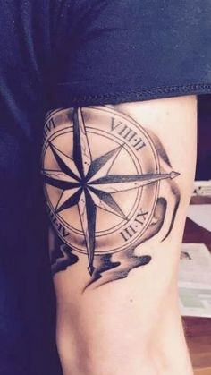 +Placement, size, outer ring with numerals/lettering. Shading interests I'm, could I add color? Maybe just a tint Compass Tattoos Arm, Arrow Forearm Tattoo, Anchor Compass Tattoo, Compass Tattoo Design, Arm Band Tattoo, Tricep Tattoos, Body Art Tattoos, Sleeve Tattoos, Cool Tattoos For Guys