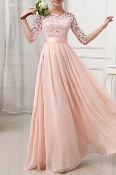 Elegant Solid Color Half Sleeve Cut Out Lace Spliced Maxi Dress For Women
