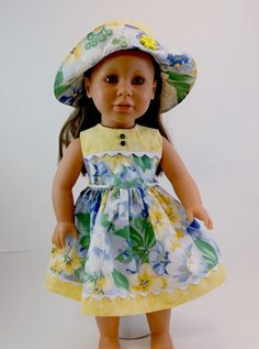 18 inch Doll Clothes American Girl Doll by snowflakeboutique American Girl Dress, American Doll Clothes, Baby Doll Clothes, American Dolls, Doll Clothes Patterns, Doll Patterns, Clothing Patterns, How To Make Clothes, Hand Puppets