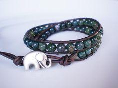 Green Jasper Bracelet Leather Wrap w Elephant by RopesofPearls