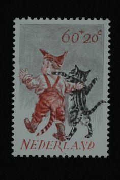 Postzegel Nederland 1982, Kinderpostzegel, Vereenzelving van het kind met het dier waardoor het kind 'een beetje poes is geworden'