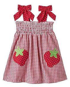 Rare Editions Toddler Girls Red Strawberry Seersucker Summer Dress 2T 3T 4T New