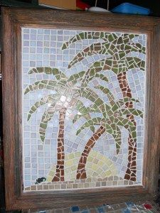 hand made mosaic with glass tiles.  Palm trees.