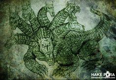 Teyu Yagua- Guarani myth: son of tau and kerena: a huge lizard with seven dog heads. It guards paititi, the land of gold