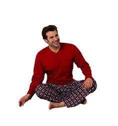 Moonline Herren-Pyjama Schlafanzug mit karierter Hose, 100% Baumwolle