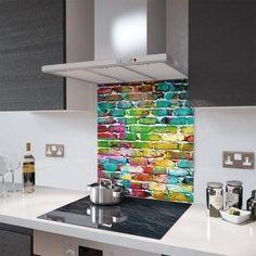 Glass Splashback - Printed Digital Images - Made To Measure Spectrum Glass, Glass Brick, Radiator Cover, Cooker Hoods, Splashback, Work Surface, Brick Wall, Shelves, Kitchen Inspiration